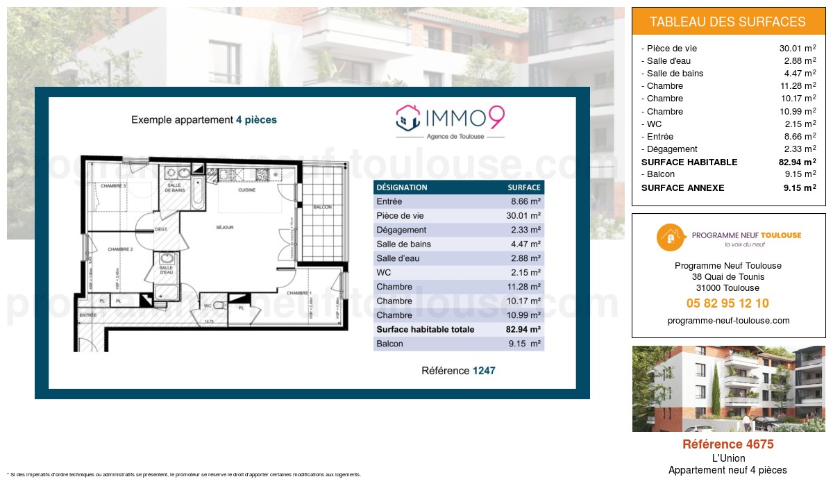 Plan pour un Appartement neuf de  82.94m² à L'Union