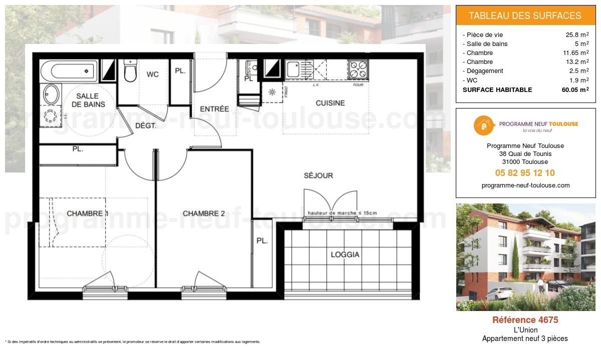 Plan pour un Appartement neuf de  60.05m² à L'Union