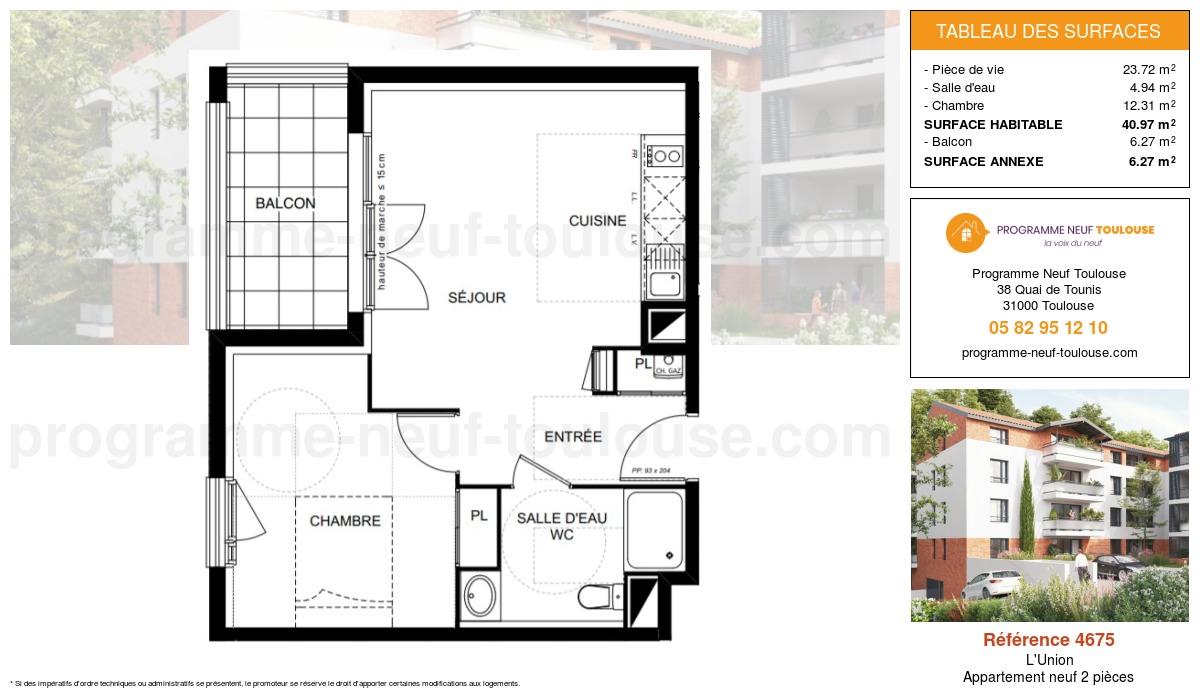Plan pour un Appartement neuf de  40.97m² à L'Union
