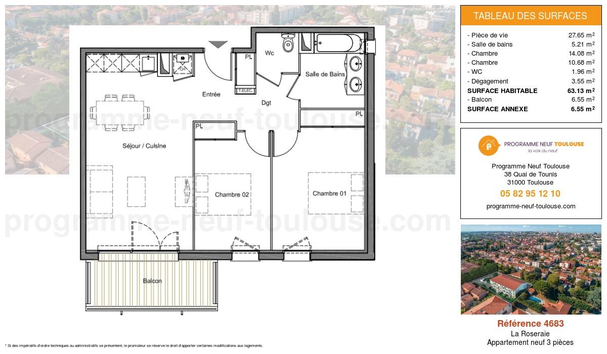Plan pour un Appartement neuf de  63.13m² à La Roseraie