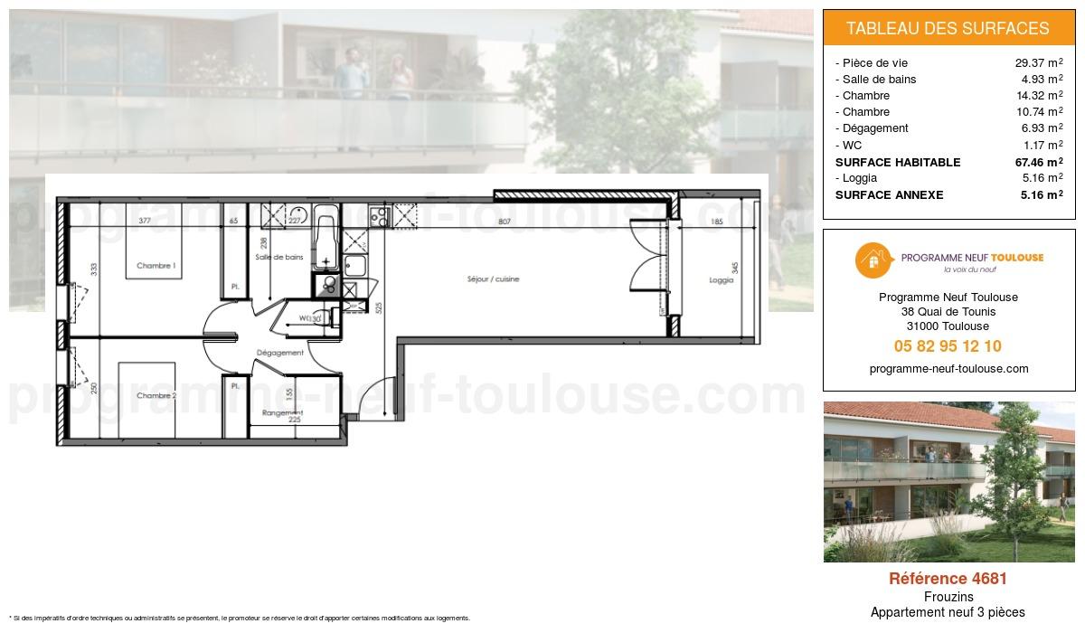 Plan pour un Appartement neuf de  67.46m² à Frouzins