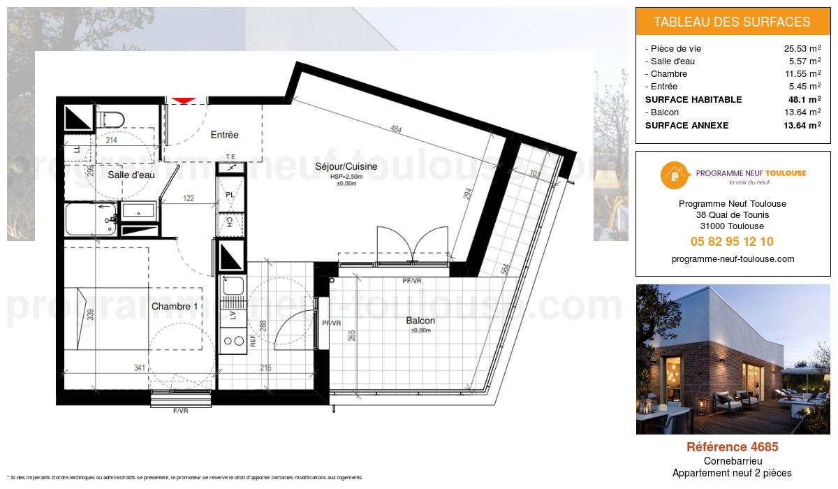 Plan pour un Appartement neuf de  48.1m² à Cornebarrieu