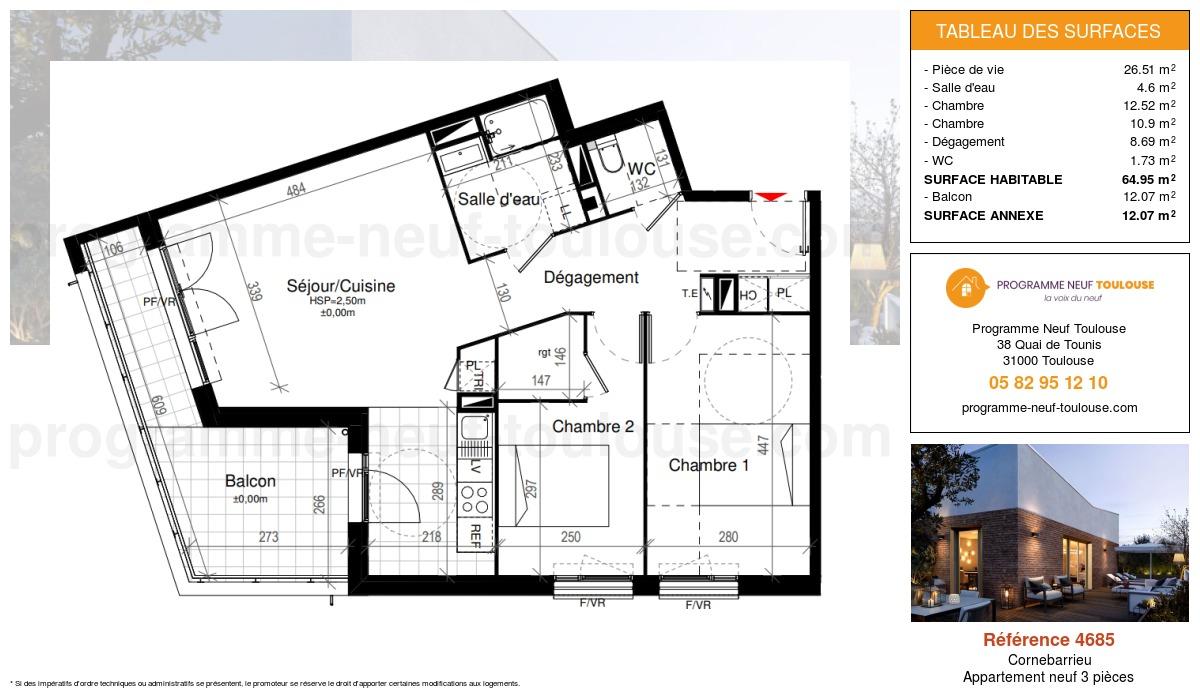 Plan pour un Appartement neuf de  64.95m² à Cornebarrieu
