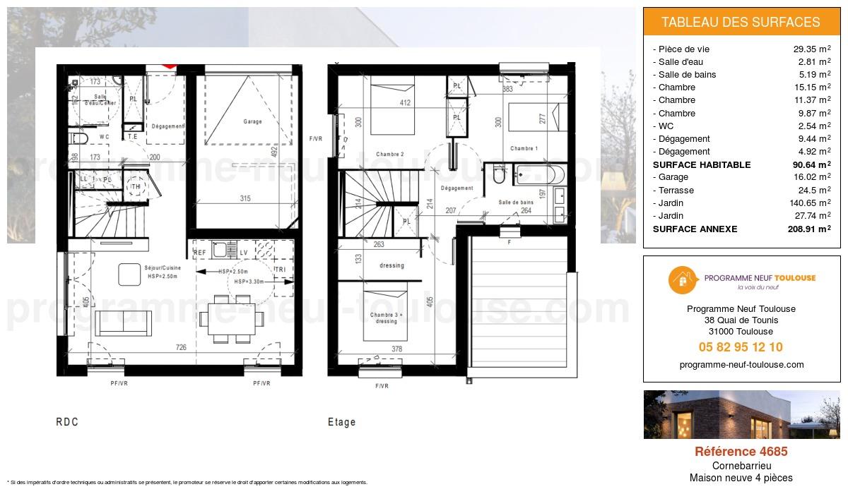 Plan pour un Maison neuve de  90.64m² à Cornebarrieu