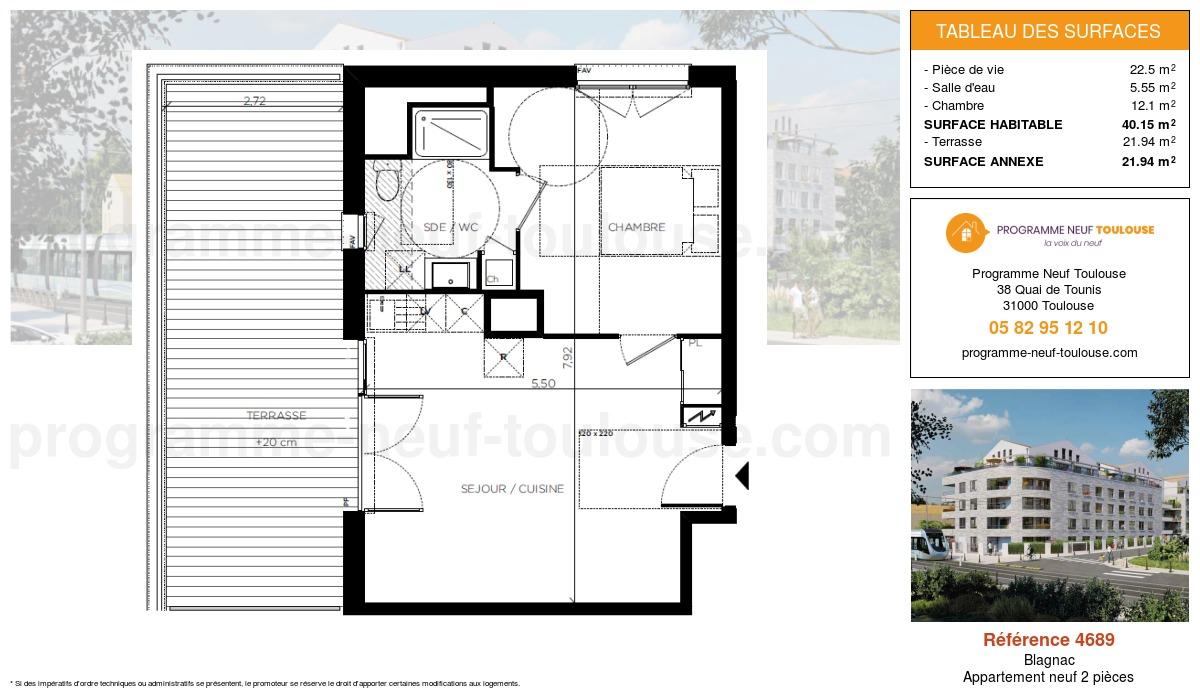 Plan pour un Appartement neuf de  40.15m² à Blagnac