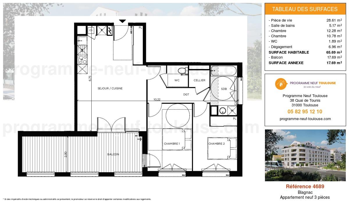 Plan pour un Appartement neuf de  65.69m² à Blagnac