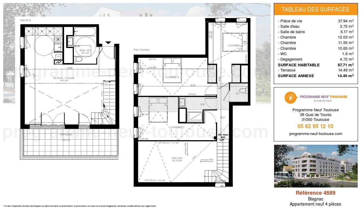 Plan pour un Appartement neuf de  87.71m² à Blagnac