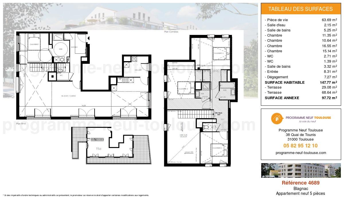 Plan pour un Appartement neuf de  147.77m² à Blagnac