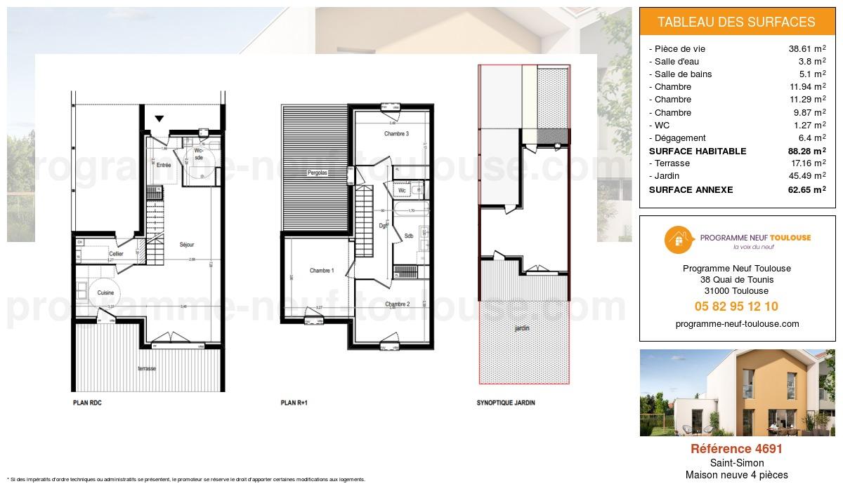 Plan pour un Maison neuve de  88.28m² à Saint-Simon