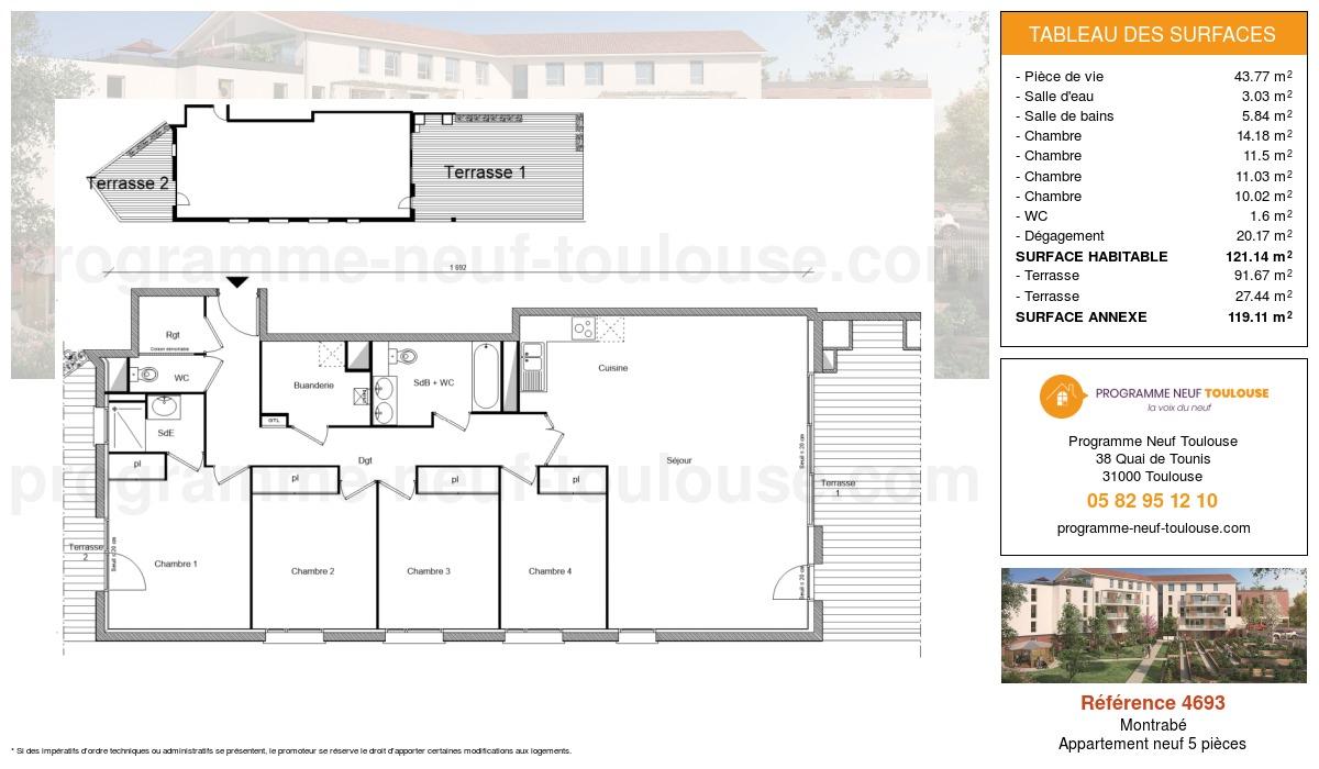 Plan pour un Appartement neuf de  121.14m² à Montrabé