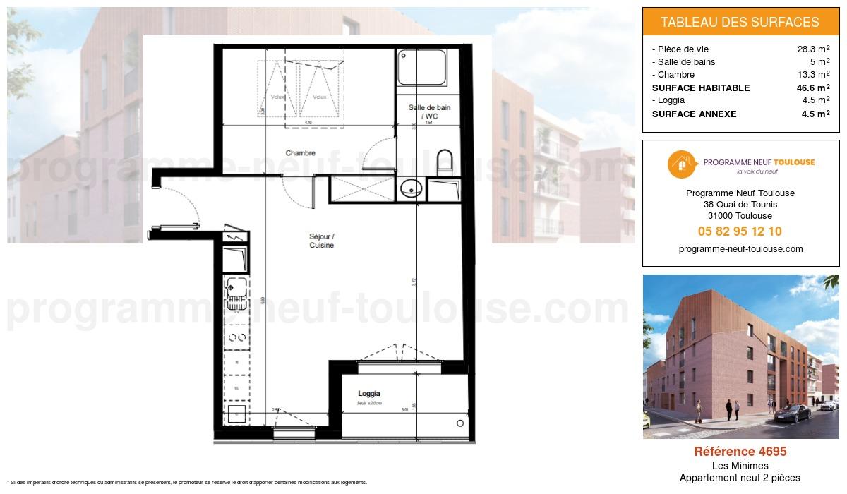 Plan pour un Appartement neuf de  46.6m² à Les Minimes