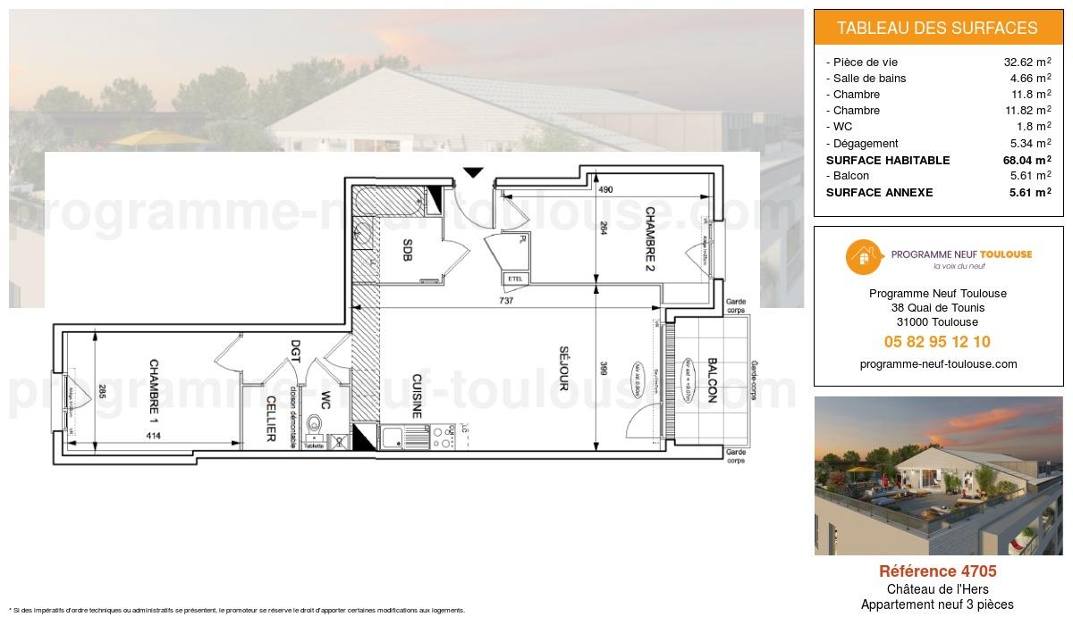 Plan pour un Appartement neuf de  68.04m² à Château de l'Hers