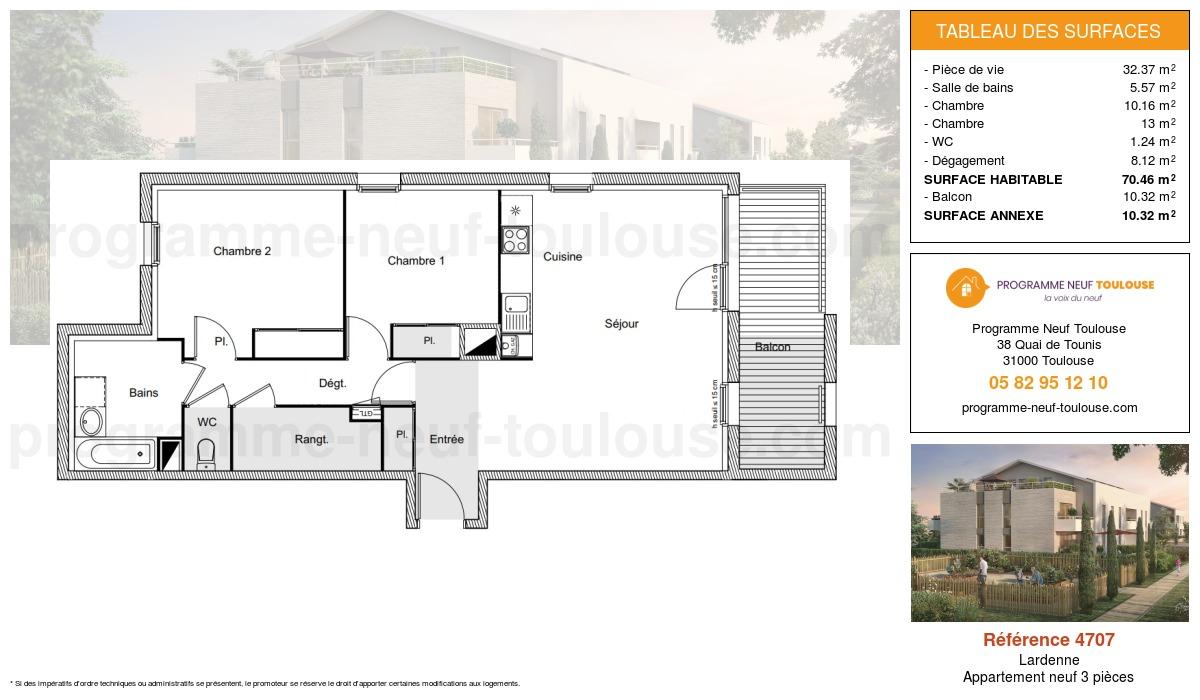 Plan pour un Appartement neuf de  70.46m² à Lardenne