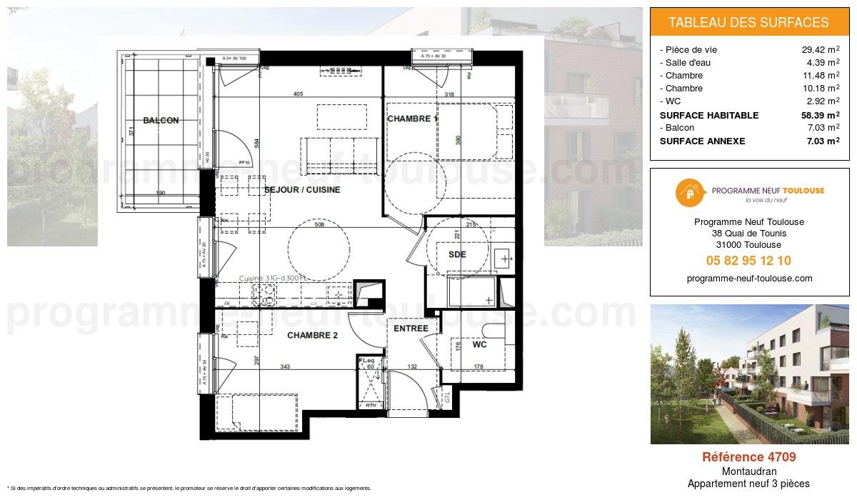 Plan pour un Appartement neuf de  58.39m² à Montaudran