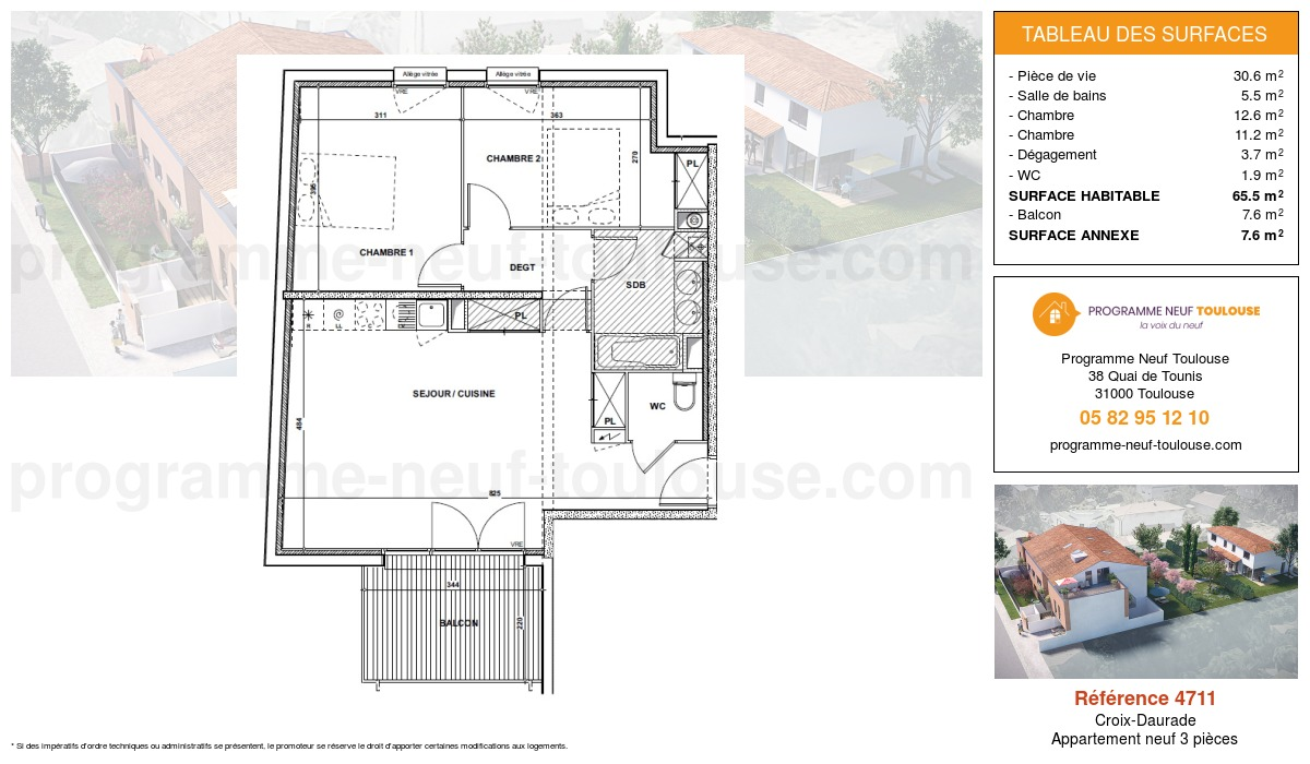 Plan pour un Appartement neuf de  65.6m² à Croix-Daurade