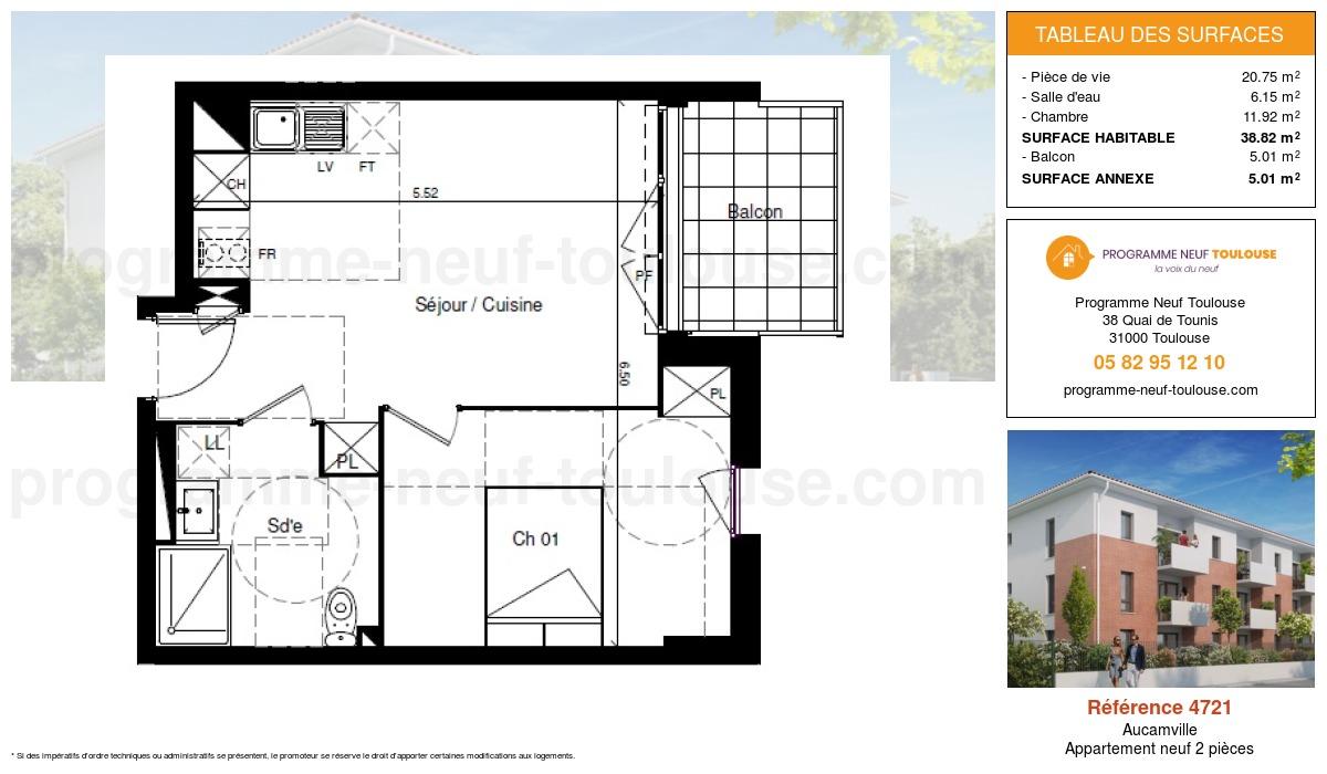 Plan pour un Appartement neuf de  38.82m² à Aucamville