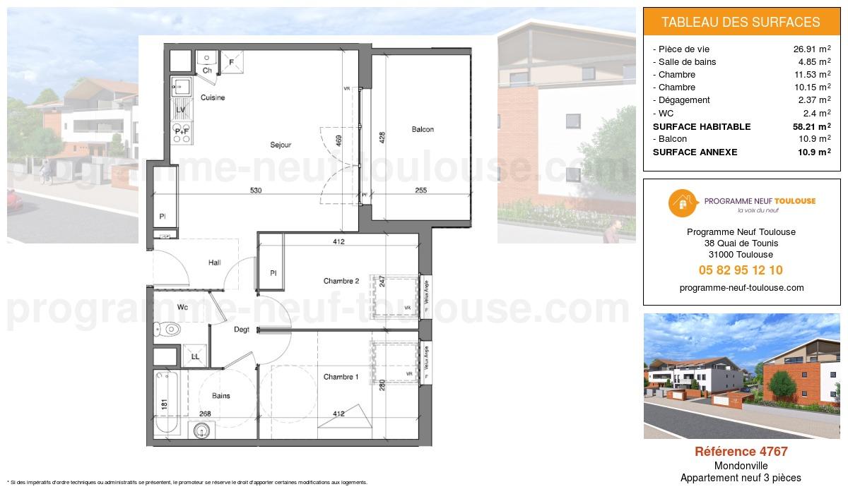 Plan pour un Appartement neuf de  58.21m² à Mondonville