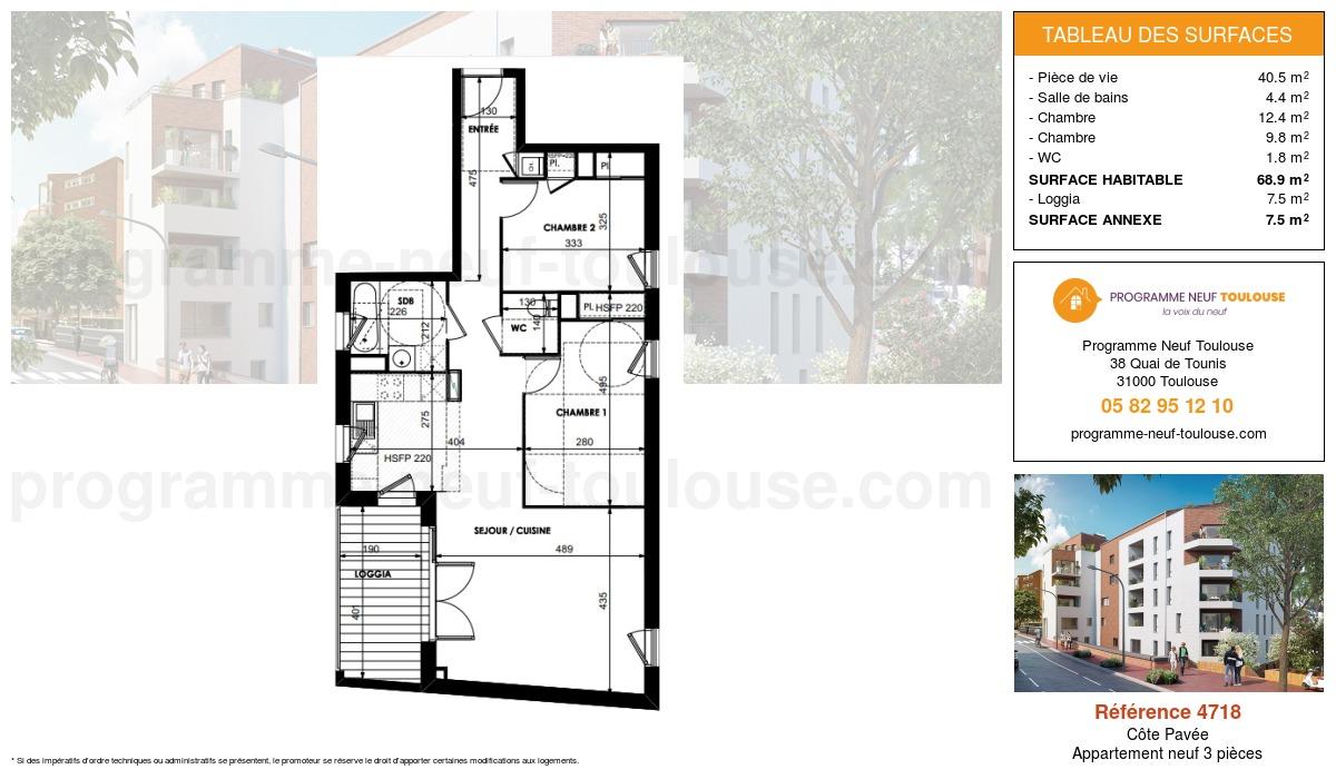 Plan pour un Appartement neuf de  68.9m² à Côte Pavée