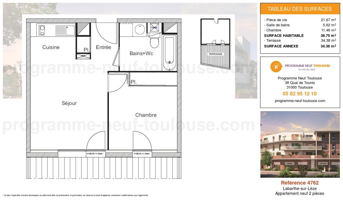 Plan pour un Appartement neuf de  38.75m² à Labarthe-sur-Lèze