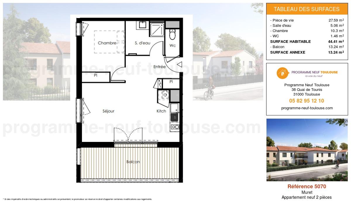 Plan pour un Appartement neuf de  44.41m² à Muret