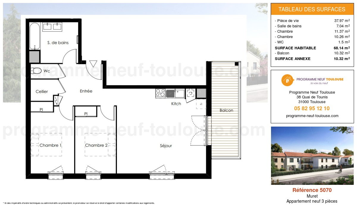 Plan pour un Appartement neuf de  68.14m² à Muret