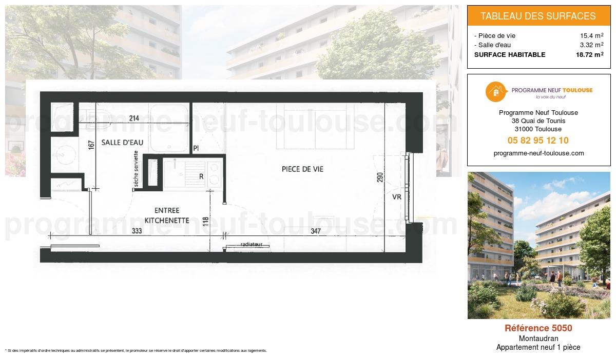 Plan pour un Appartement neuf de  18.72m² à Montaudran