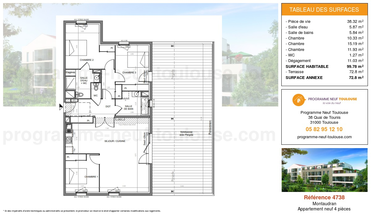 Plan pour un Appartement neuf de  99.78m² à Montaudran
