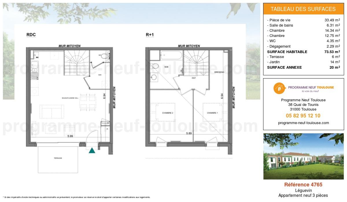 Plan pour un Appartement neuf de  73.53m² à Léguevin
