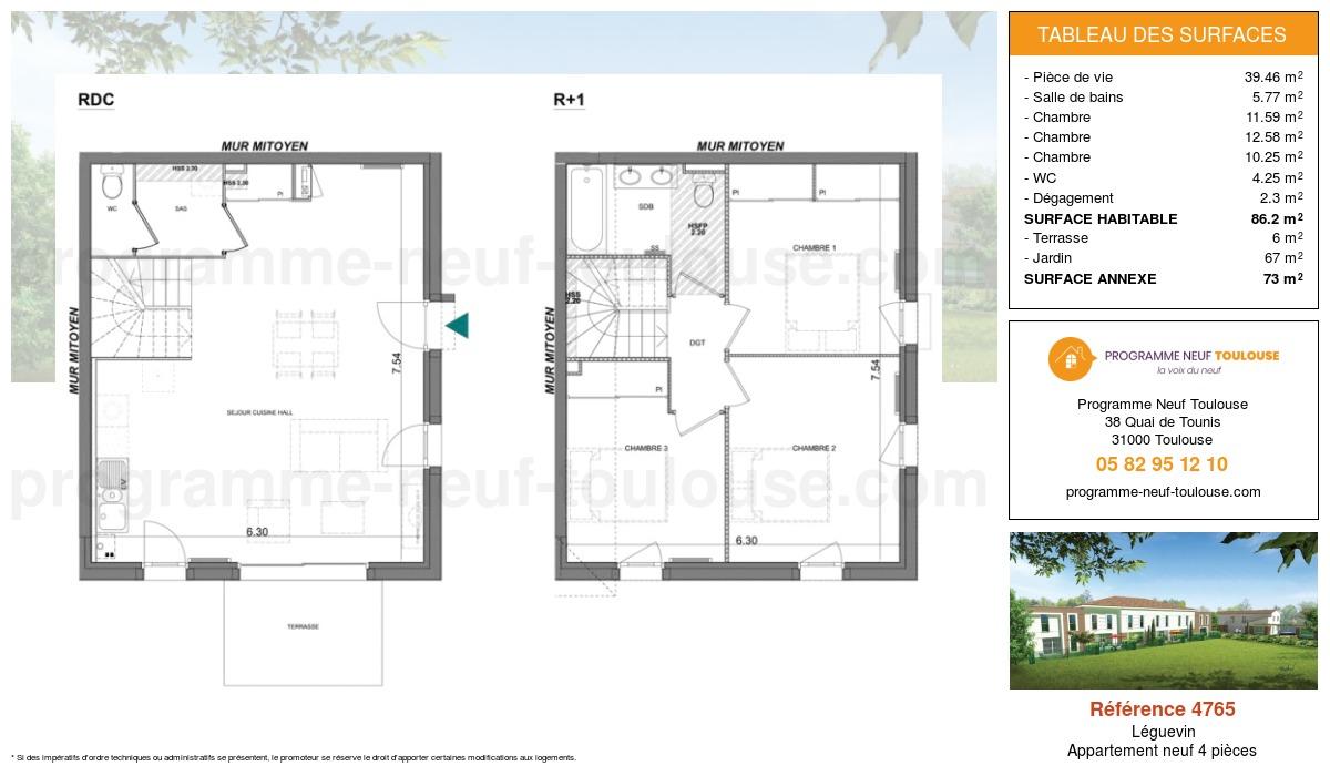 Plan pour un Appartement neuf de  86.2m² à Léguevin
