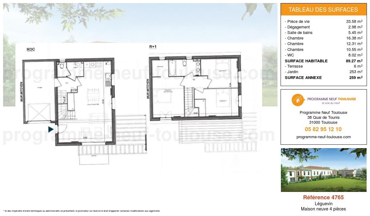 Plan pour un Maison neuve de  89.27m² à Léguevin