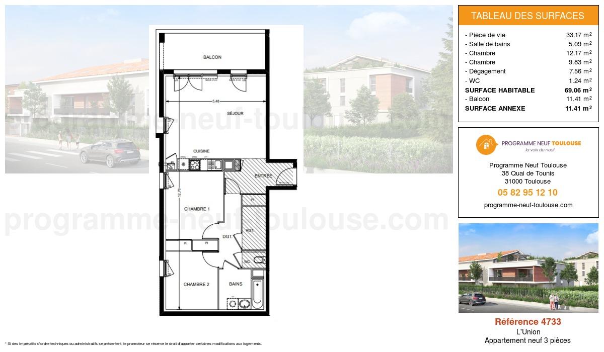 Plan pour un Appartement neuf de  69.06m² à L'Union