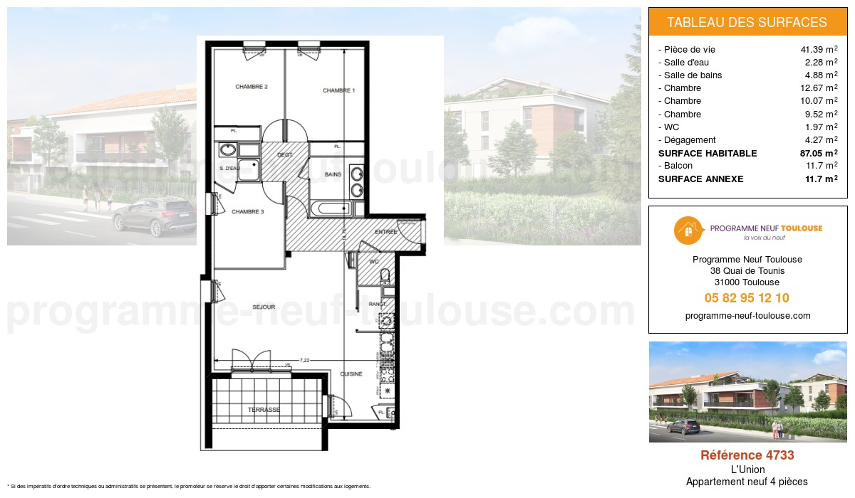 Plan pour un Appartement neuf de  87.05m² à L'Union