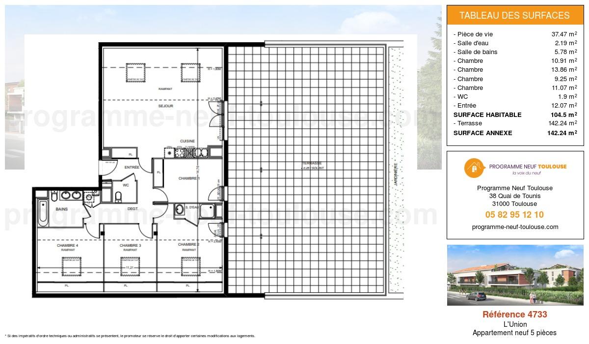 Plan pour un Appartement neuf de  104.5m² à L'Union