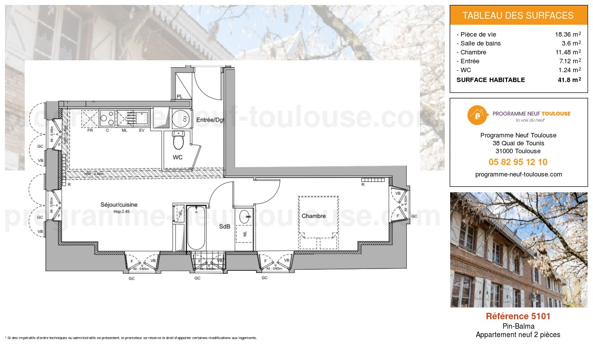 Plan pour un Appartement neuf de  41.8m² à Pin-Balma