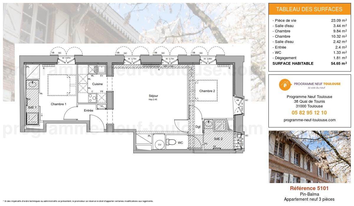 Plan pour un Appartement neuf de  59.44m² à Pin-Balma