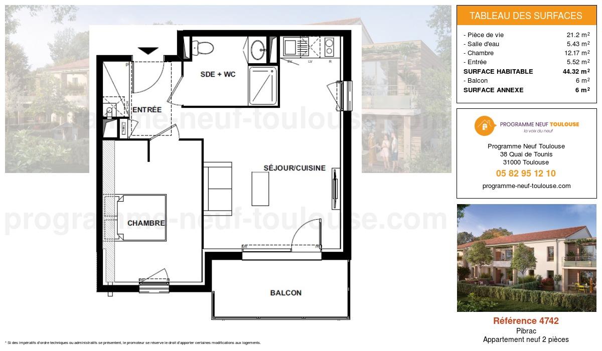 Plan pour un Appartement neuf de  44.32m² à Pibrac