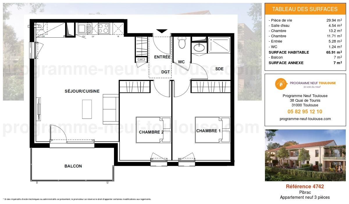 Plan pour un Appartement neuf de  65.91m² à Pibrac