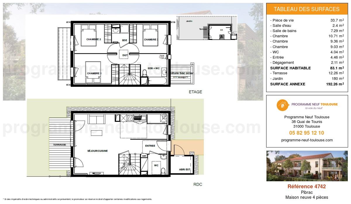 Plan pour un Maison neuve de  83.1m² à Pibrac