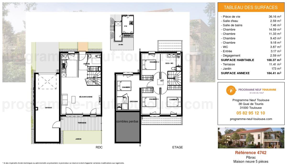 Plan pour un Maison neuve de  100.37m² à Pibrac