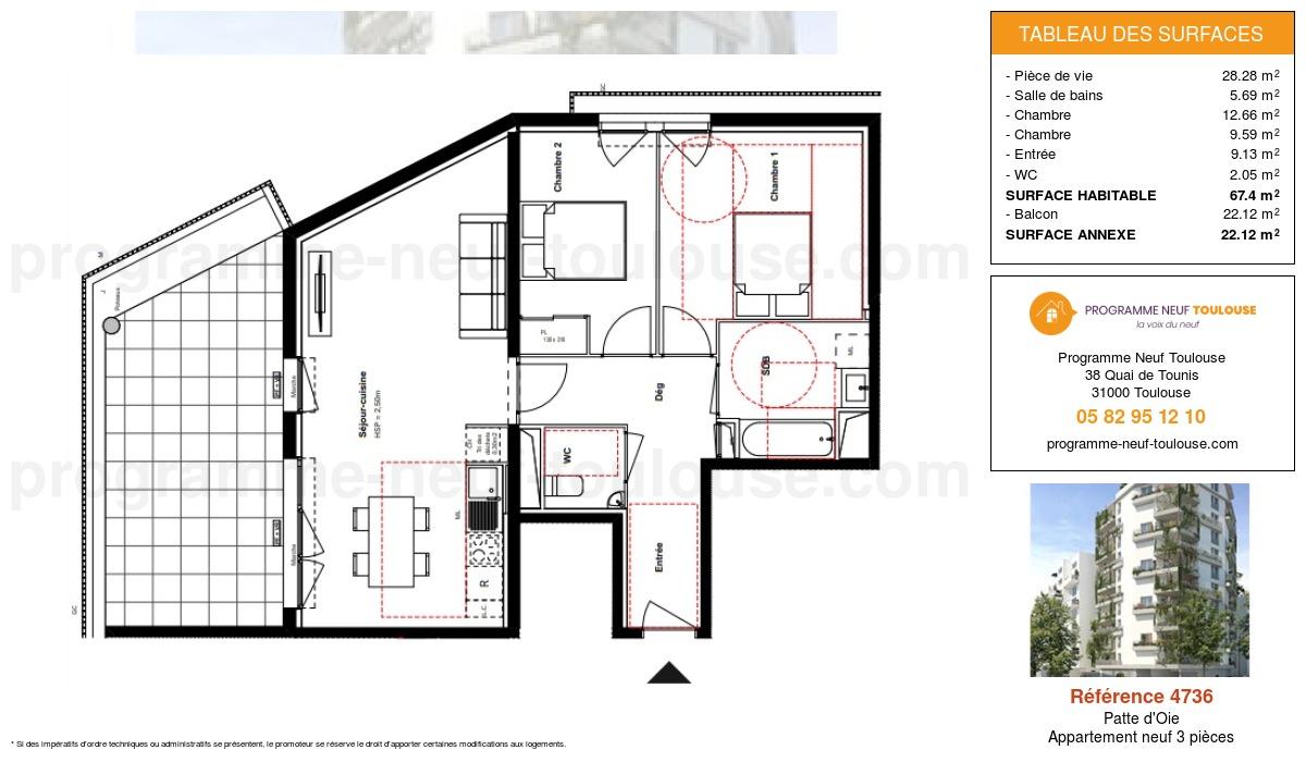 Plan pour un Appartement neuf de  67.4m² à Patte d'Oie