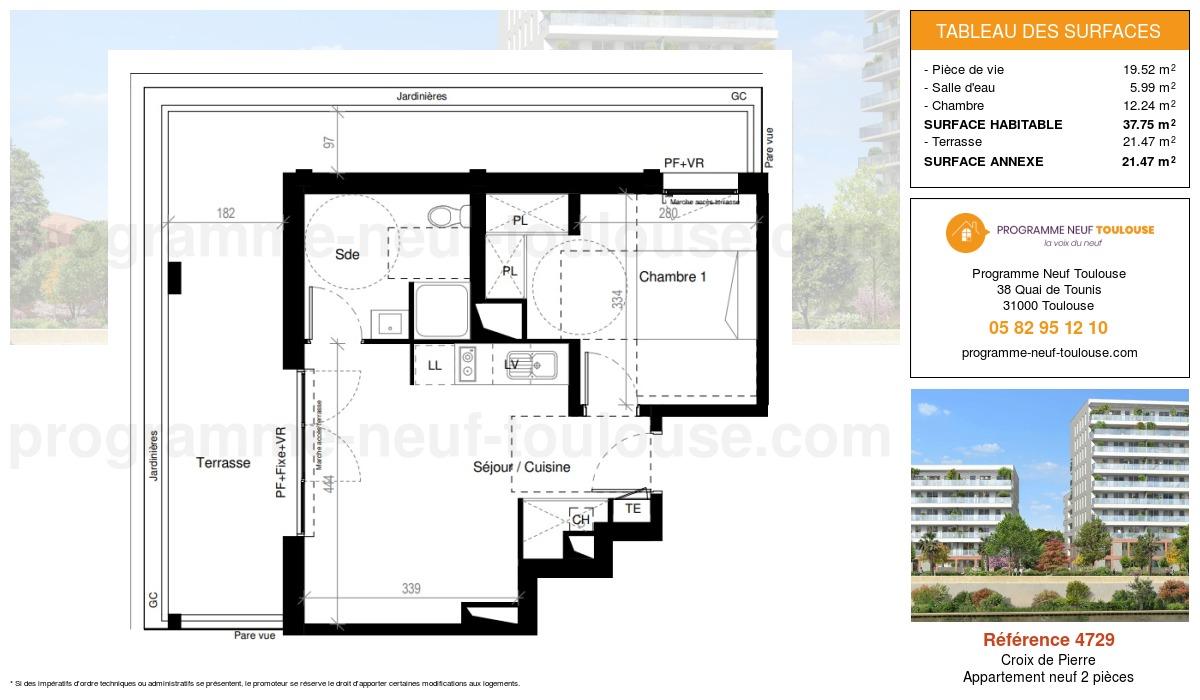 Plan pour un Appartement neuf de  37.75m² à Croix de Pierre