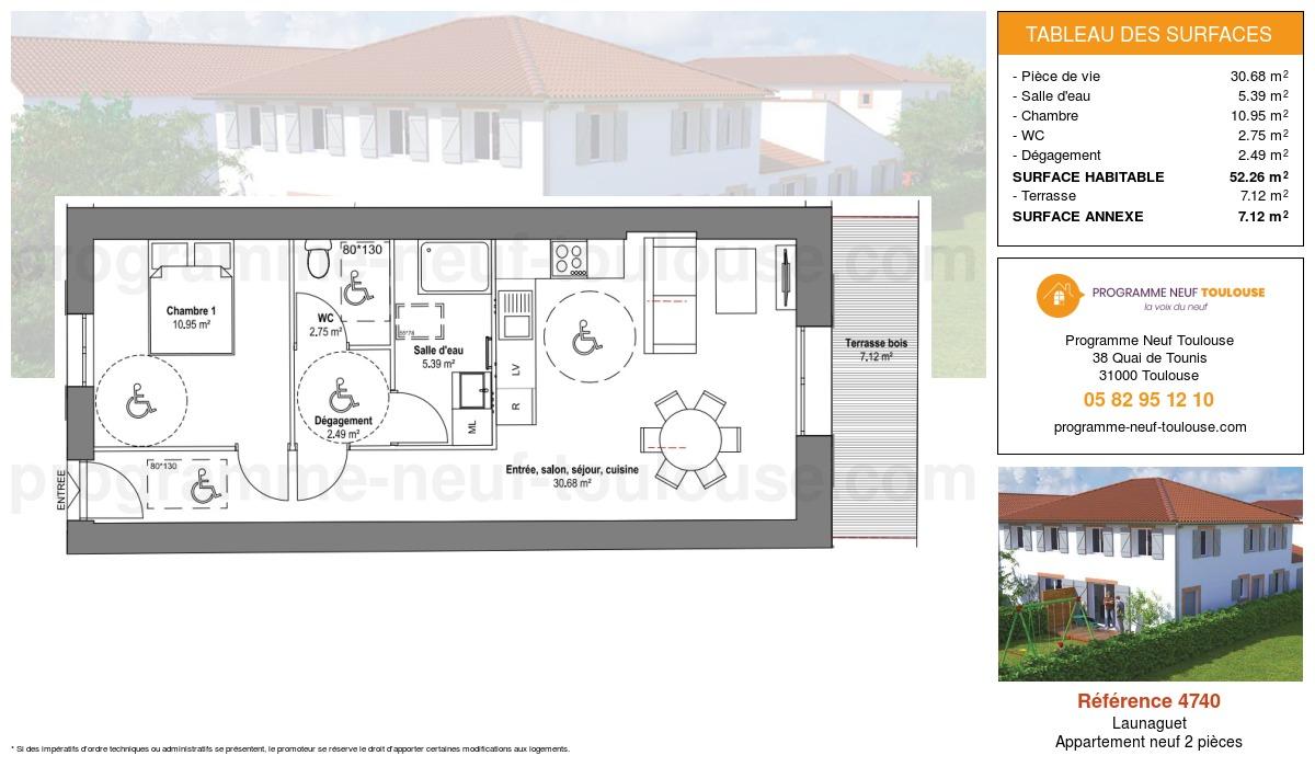 Plan pour un Appartement neuf de  52.26m² à Launaguet