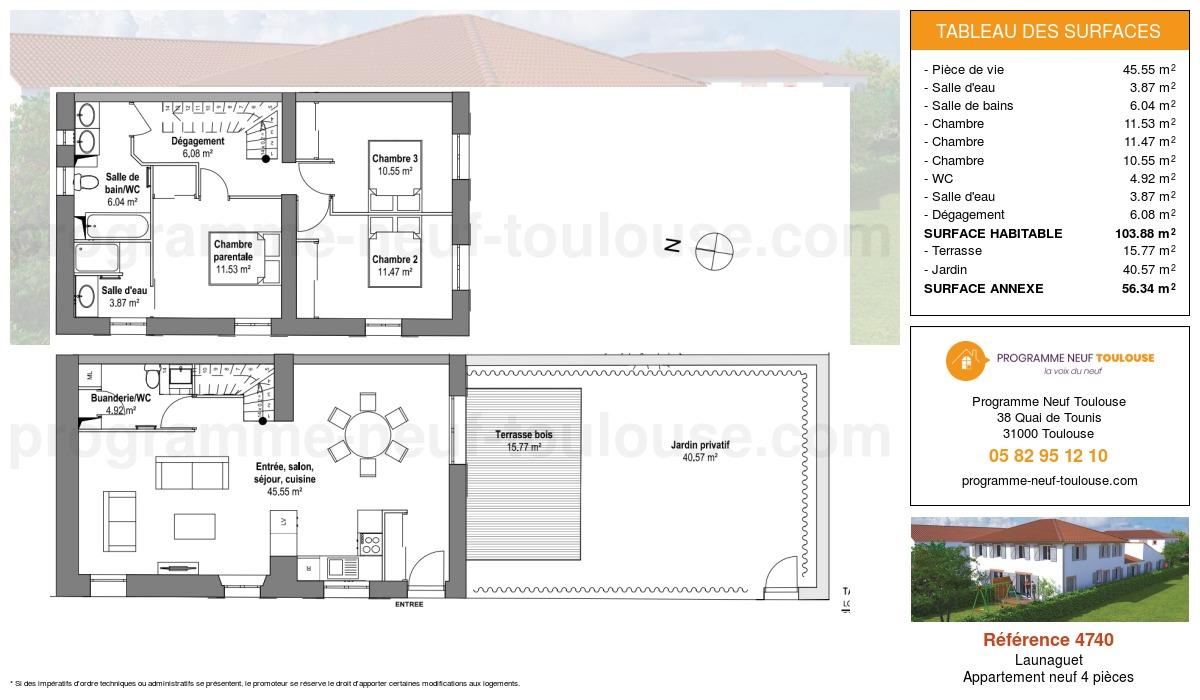Plan pour un Appartement neuf de  100.01m² à Launaguet