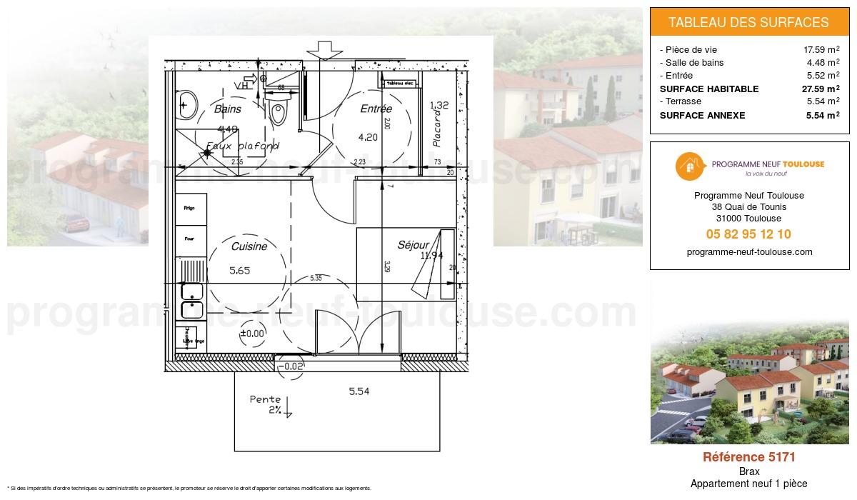 Plan pour un Appartement neuf de  27.59m² à Brax