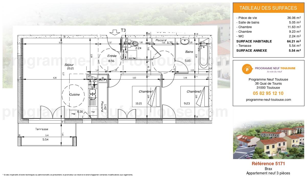 Plan pour un Appartement neuf de  64.21m² à Brax