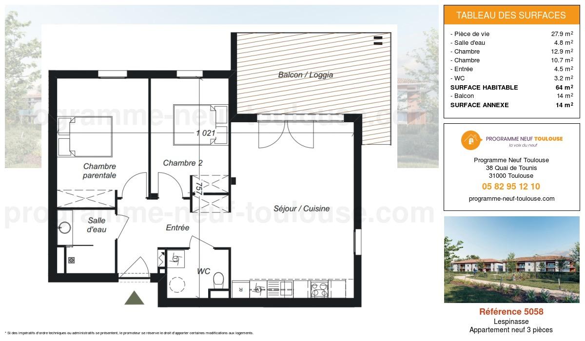 Plan pour un Appartement neuf de  64m² à Lespinasse