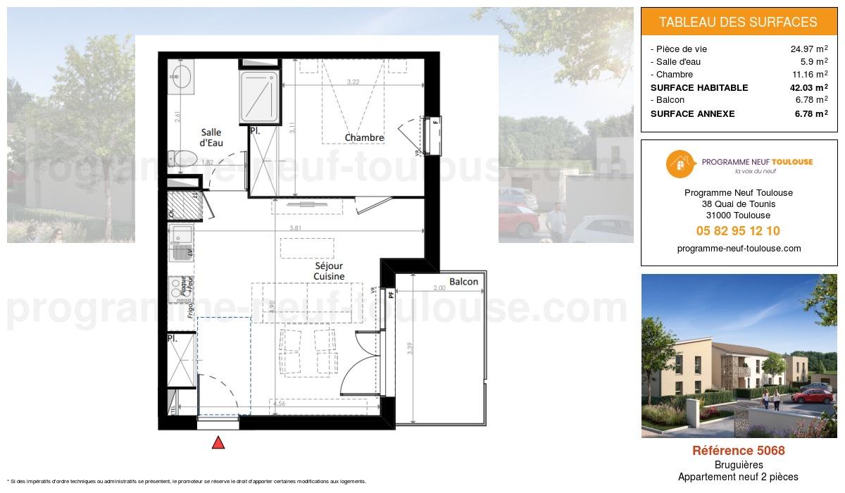 Plan pour un Appartement neuf de  42.03m² à Bruguières