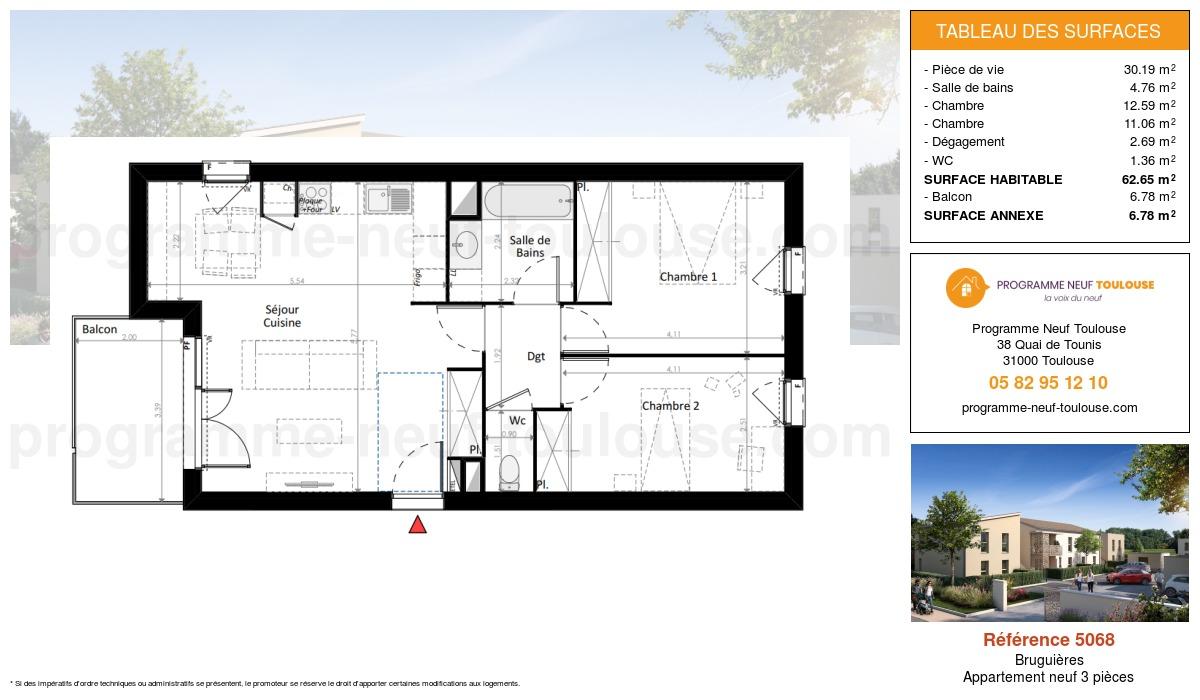 Plan pour un Appartement neuf de  62.65m² à Bruguières