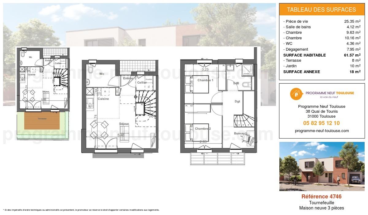 Plan pour un Maison neuve de  61.57m² à Tournefeuille