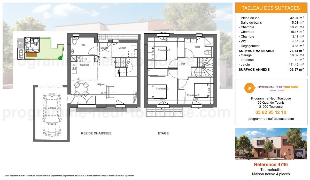 Plan pour un Maison neuve de  74.74m² à Tournefeuille